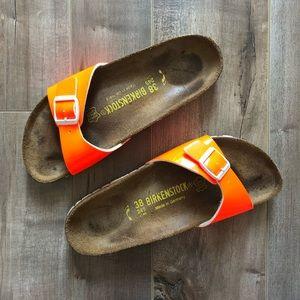 Birkenstock Madrid slip on slide in bright orange